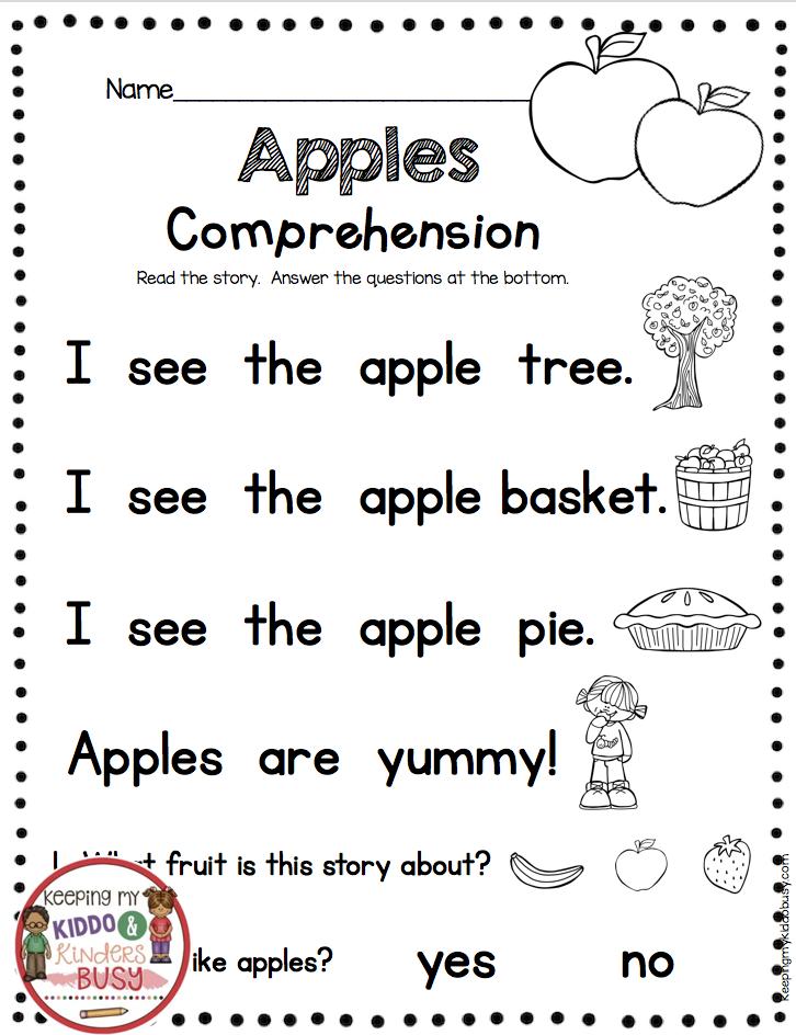 Kindergarten Worksheets Reading Readiness