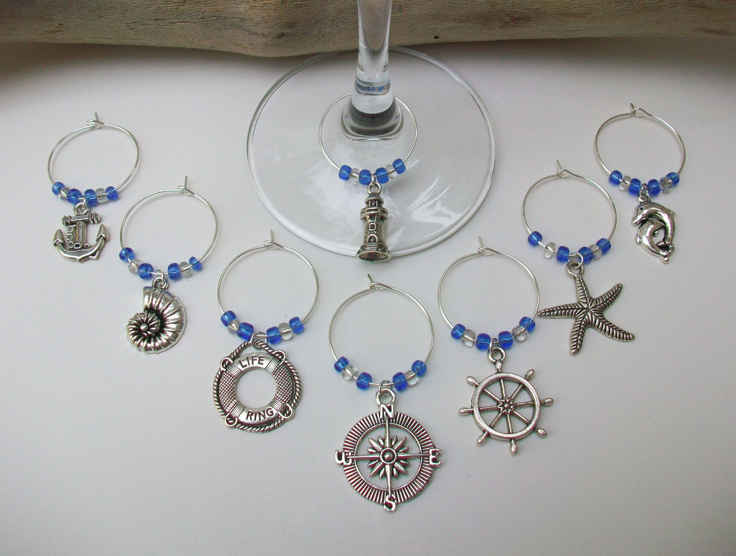 Nautical Beach Theme Wine Gl Charms Bridal Shower Gift Party Wedding Favors