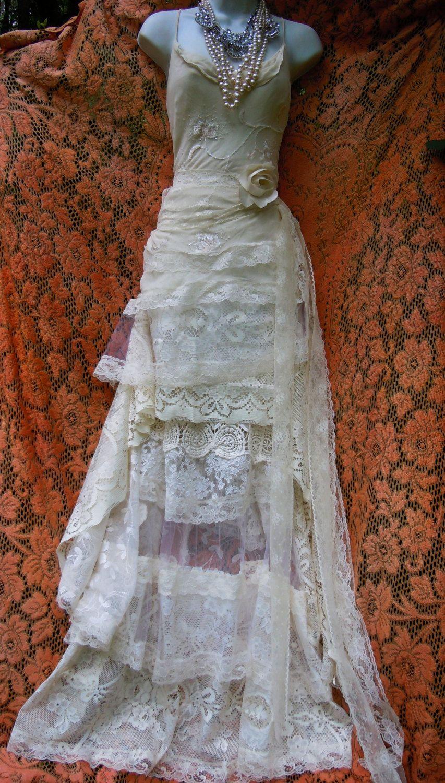 Cream wedding dress lace crochet ruffles mermaid vintage