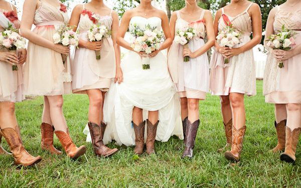 Short Wedding Dresses With Cowboy Boots For The Farm Heels Will Get Caught On Country Bridesmaid Dresses Wedding Dresses High Low Dresses With Cowboy Boots