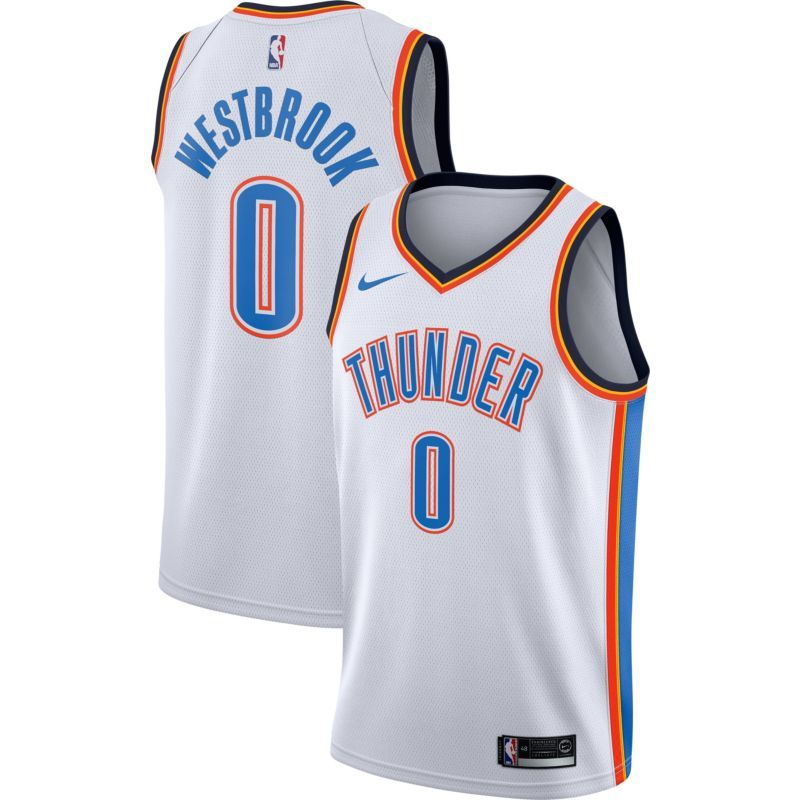 a63d870421ce Nike Men s Oklahoma City Thunder Russell Westbrook  0 White Dri-FIT Swingman  Jersey