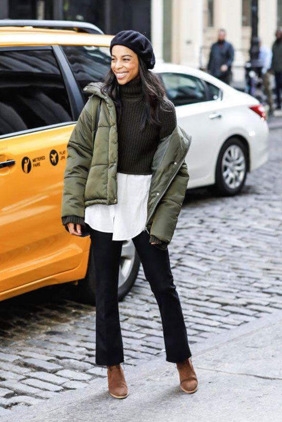Black puffer jacket trend
