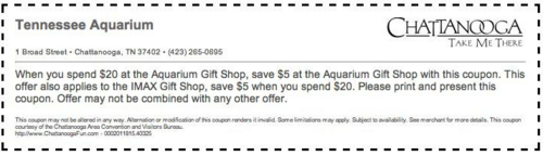 Tennessee Aquarium Coupons | Tennessee aquarium, Aquarium ...