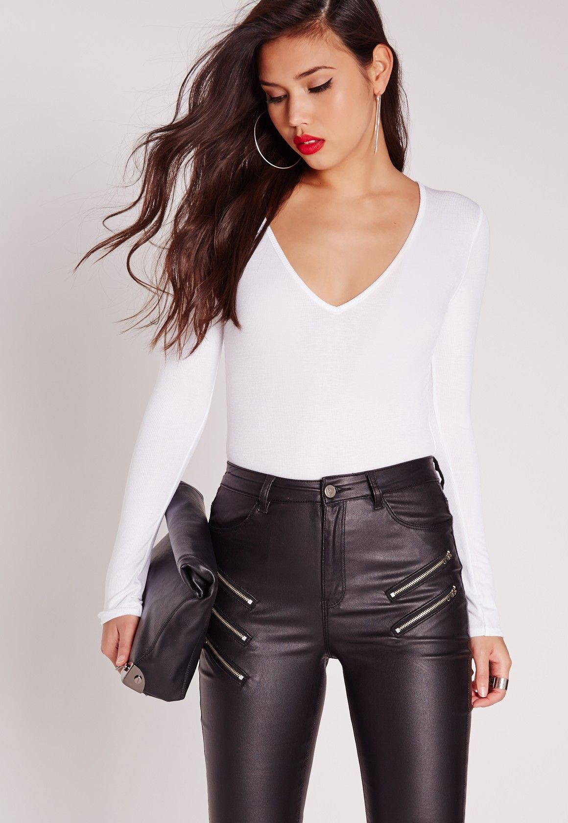 a3684d1dcc5 Missguided - White V-Neck Ribbed Long Sleeve Bodysuit | Stuff to Buy ...