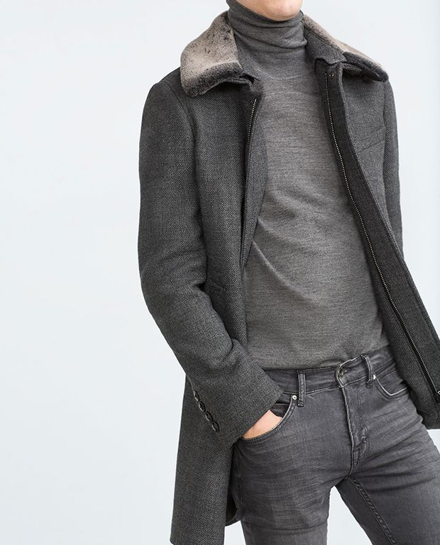 Manteau homme gris zara