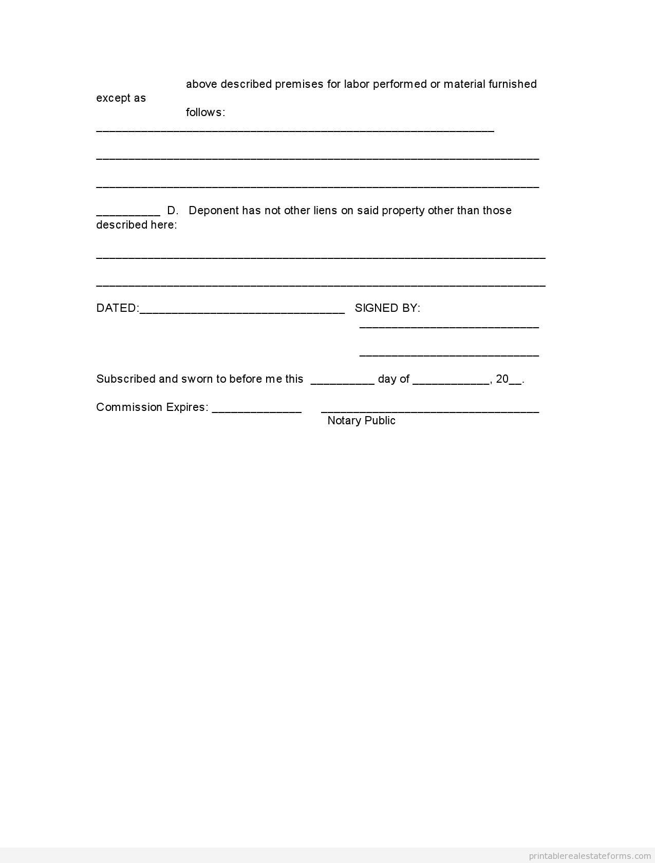 Sample Printable Affidavit Of Ownership  Form  Printable Real
