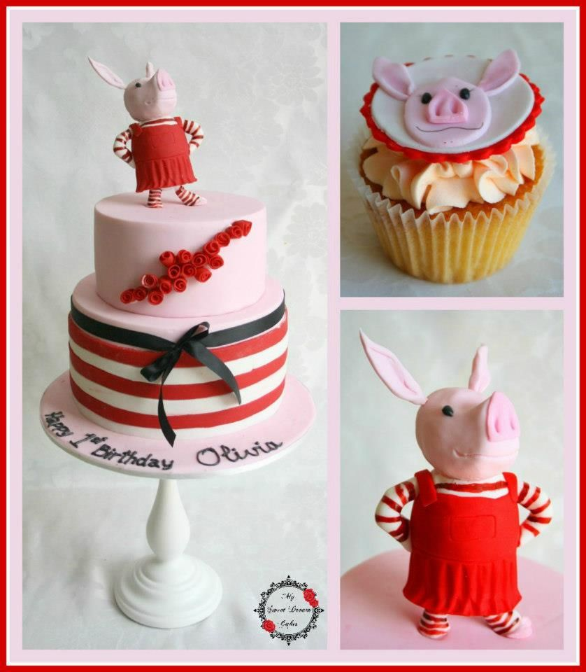 Olivia the Pig 1st Birthday Cake and Cupcakes by My Sweet