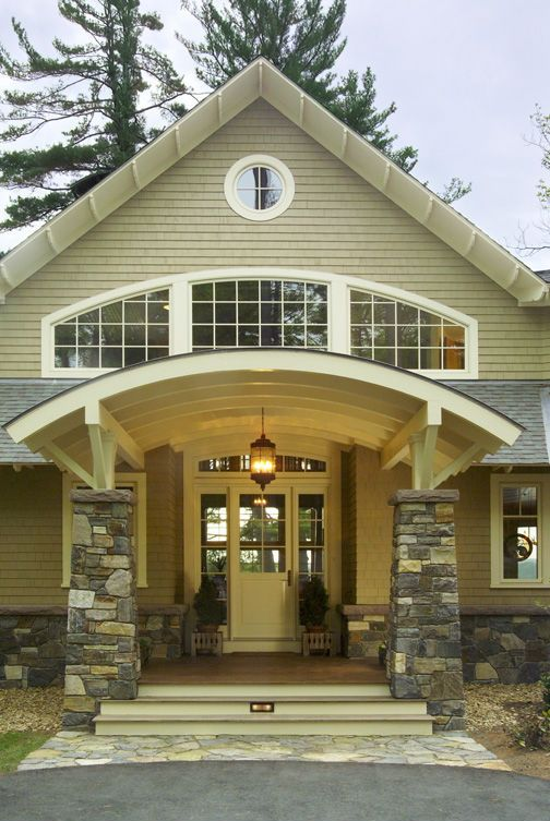 HOLY GORGEOUS!!! Stone Veneer Columns featured on lake house by an ...
