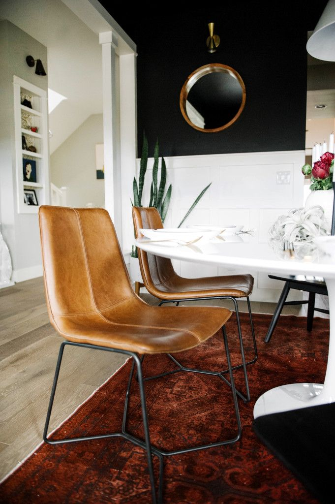 kitchens west elm leather dining chairs