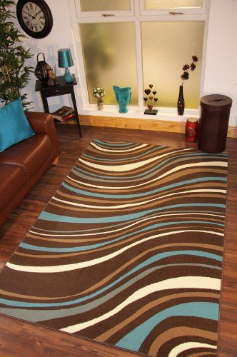 Stylish Modern Teal Blue And Brown Waves Decorative Rug Florence