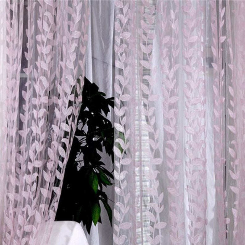1m X 2m Valances Window Sheer Voile Scarf Printed Drape Panel Etsy In 2020 Window Sheers Drape Panel Leaf Curtains