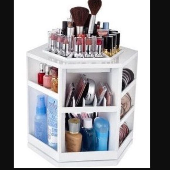 Qvc Makeup Organizer Interesting Lori Greiner Rotating Makeup Organizer White Plastic Makeup