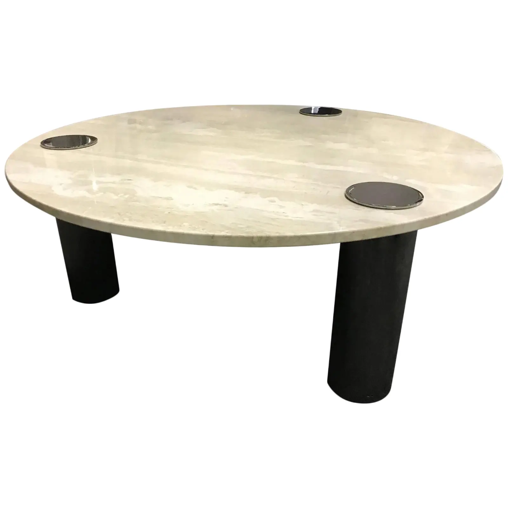 Travertine Coffee Table Round With Chrome Pillars [ 1000 x 1000 Pixel ]