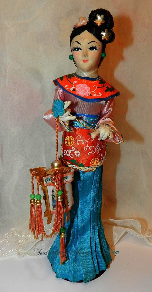 Oriental doll 3all cloth body posed made in by TeasHopeChest, $12.50