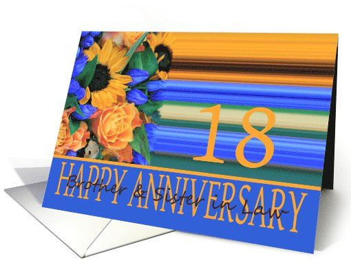 18th Anniversary For Brother Sister In Law Sunflower Bouquet Card To A Speci Happy Anniversary Cards Happy Anniversary Wishes Wedding Anniversary Greetings