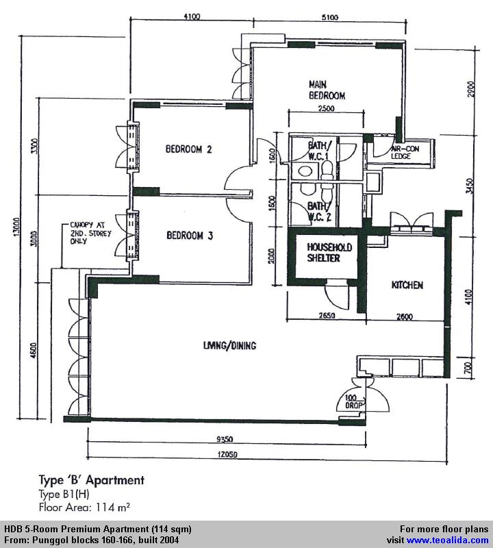 Punggol Blk 160 166 Hdb 5 Room Apartment Floor Plan 114 Sqm In 2020 Floor Plans Apartment Floor Plan Apartment Room