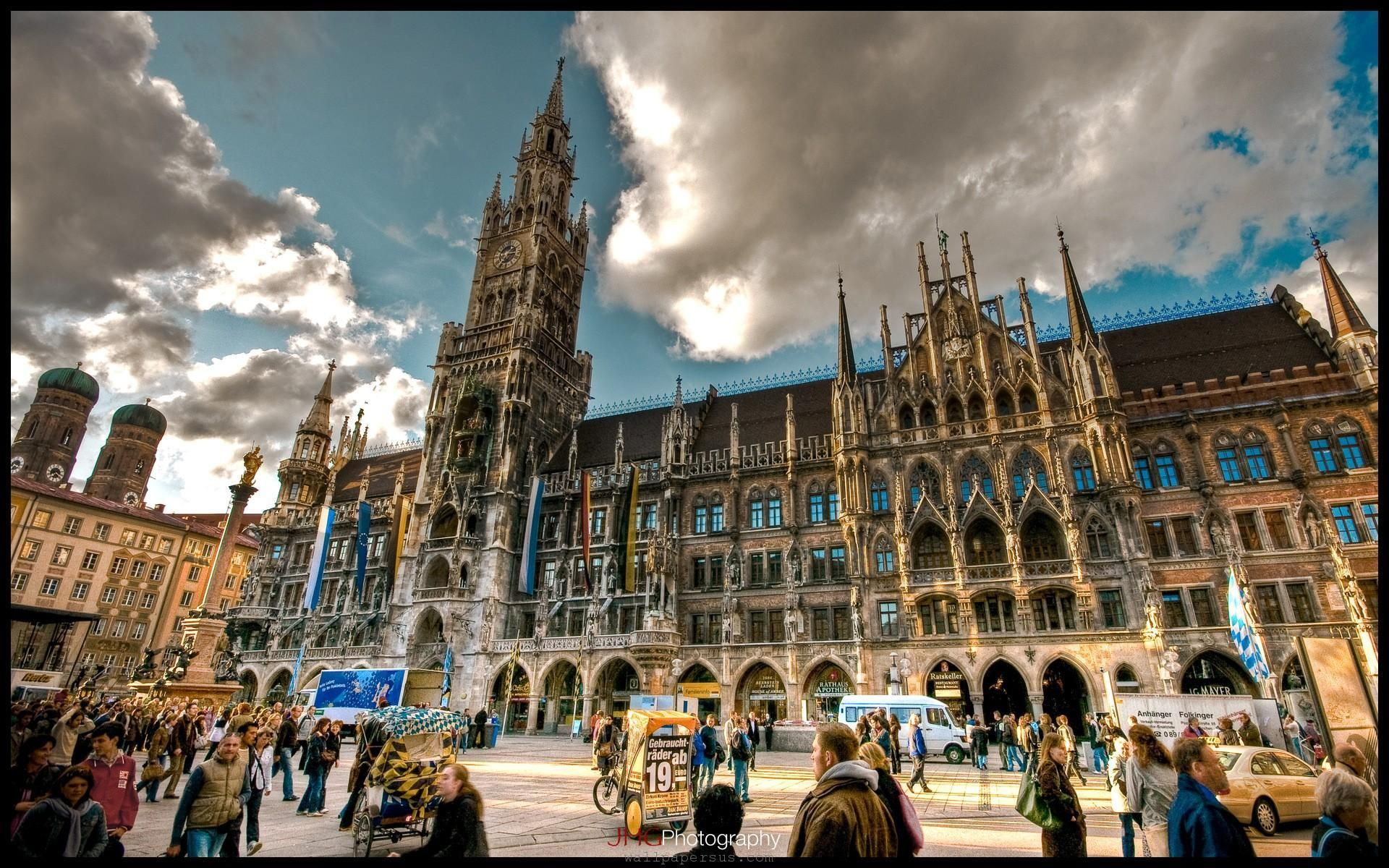 marienplatz munich germany heavily visited by locals and