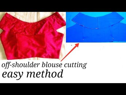 0b358dd1ff8823 Off-shoulder blouse cutting step by step in hindi latest designer blouse  cutting - YouTube