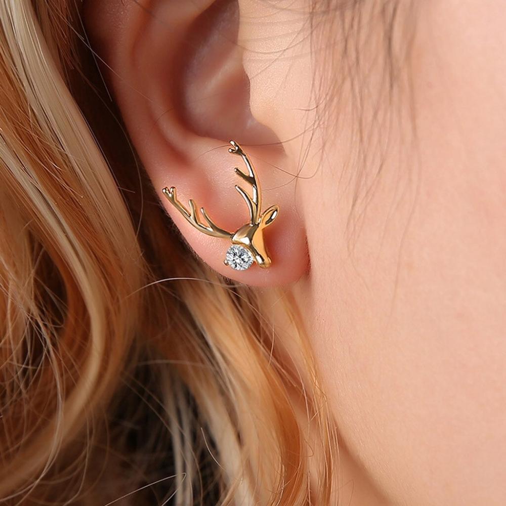 Deer Stud Christmas Earrings PU27 #vintagerhinestone