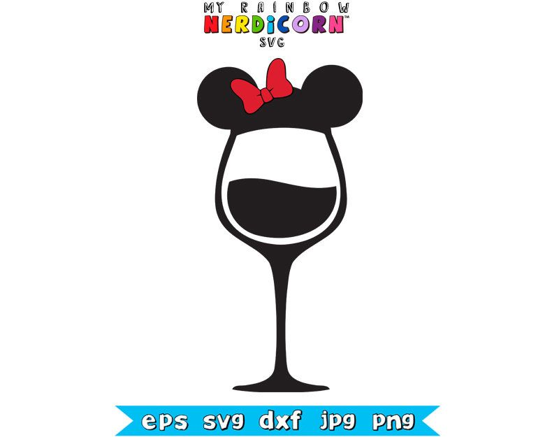 Vinyl Designs Disney Wine Gles Cricut Minnie Mouse Mickey Ears Iron On Tails