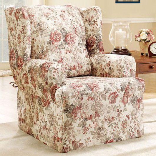 Pleasing Sure Fit Chloe Floral Wing Chair Slipcover Surefit Ideas Machost Co Dining Chair Design Ideas Machostcouk
