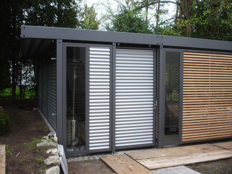 Design Metall Carport aus Holz Stahl Blech Glas mit