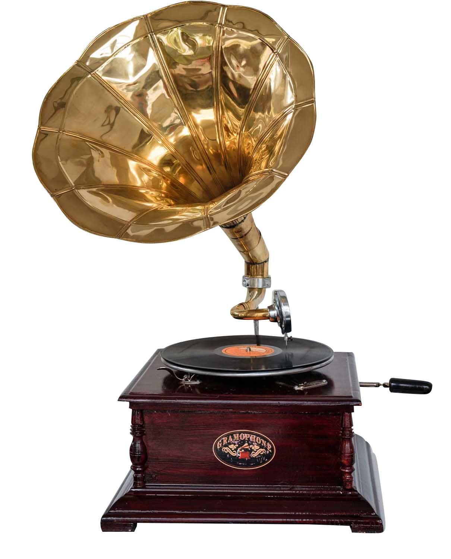 e Nostalgie Grammophon Gramophone Dekoration mit Trichter Grammofon Antik-Stil