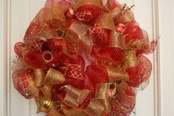 Christmas Deco Mesh Wreath by Cindywdesigns on Etsy, $89.00