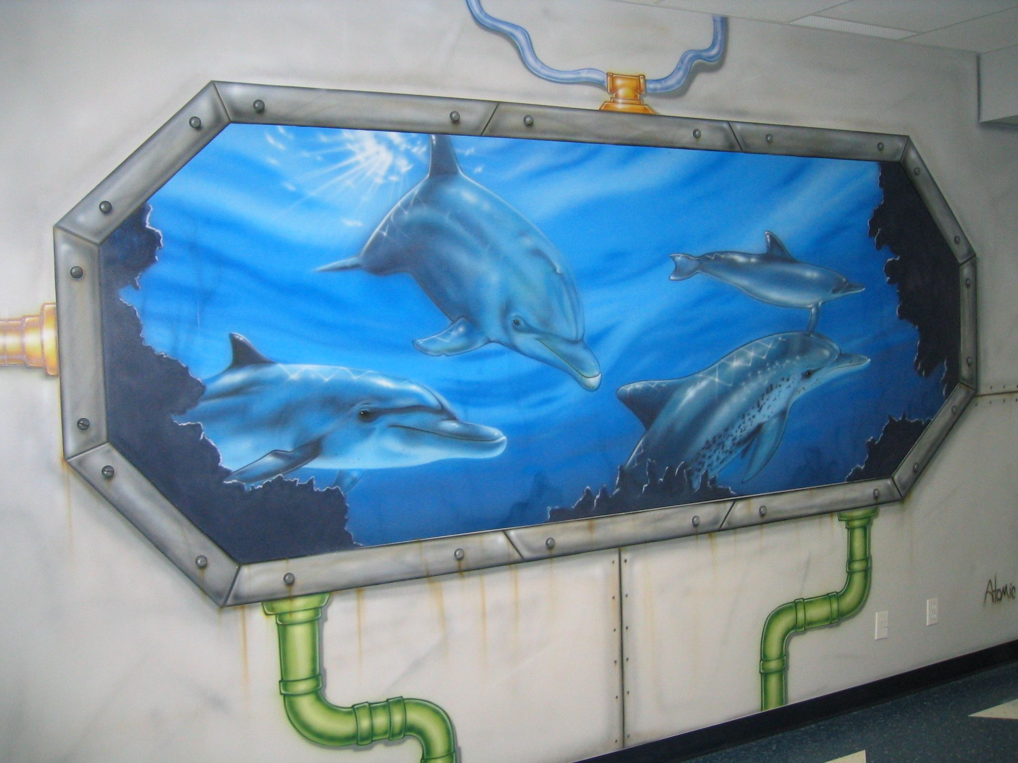 Airbrushed murals atomic playgrounds airbrushing for Airbrushed mural