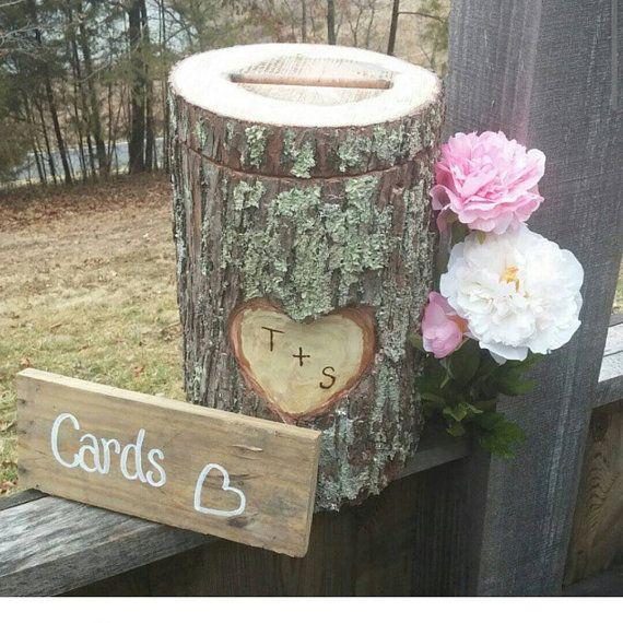 Tree Stump Card Box Real Log Oak Wood By Sawmillcreations On