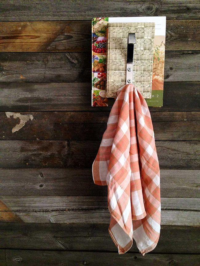 Kitchen Towel Reclaimed Book Hook