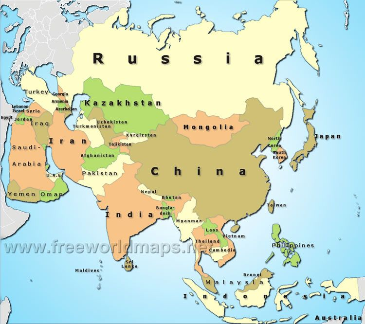 Political map of Asia in 2019 | Asia map, Map, Asia