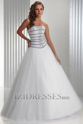 Ball Gown Strapless Tulle Quinceanera Dresses at IZIDRESSES.com