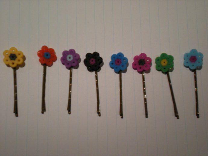 Flower hair clips perler beads by iloveronweasley97