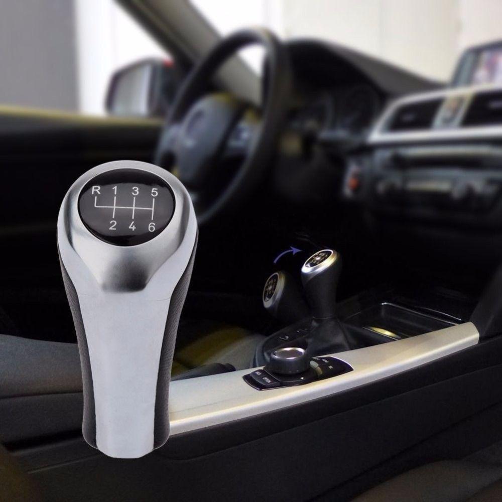 Pu leather 6 speed manual mt gear stick shift knob for bmw e46 e90 e91 e92