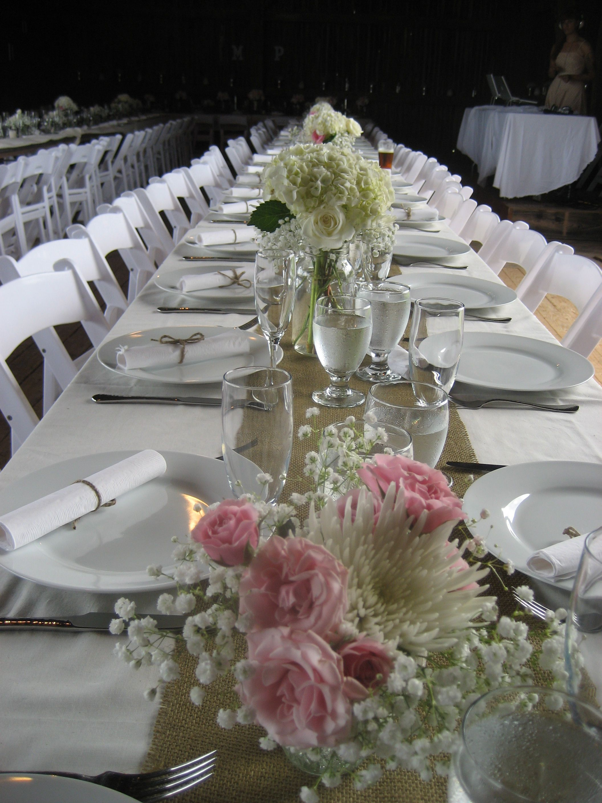 White Tablecloth, Burlap Runner