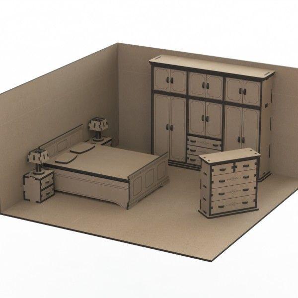 24e45a8a10c57 Dollhouse with Furniture – Laser Cut Plans Nábytok Pre Bábiky, Domáce  Remeslá, Dekorácia Detskej
