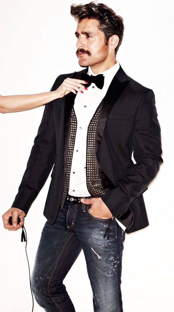 Black Tuxedo Jacket, bow tie, and Beat up denim jeans. Mens Fall Winter Fashion.