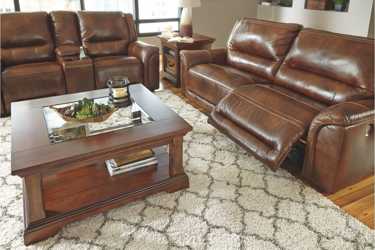 Jayron Reclining Loveseat With Console Harness Leather Products
