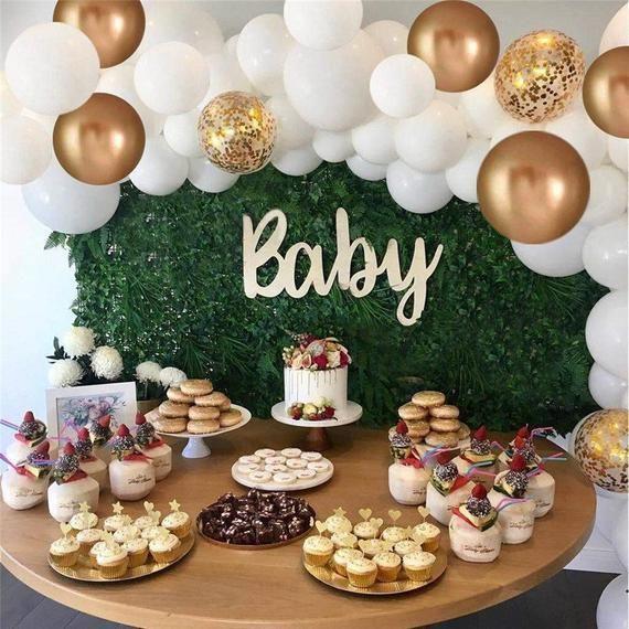 60 stücke baby alles gute zum geburtstag party dekoration ballon girlande kit weißes gold konfetti luftballons für hochzeit liefert