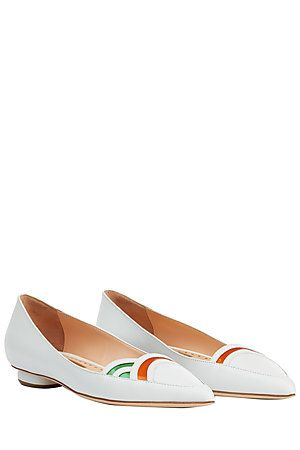 A modern style from celebrated shoe maestro Rupert Sanderson, these white loafers are razor sharp with their pointed toe and cut-out colored inserts #Stylebop