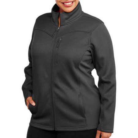 Faded Glory Women's Plus-Size Sporty Plush Fleece Jacket With Softshell Piecing, Gray