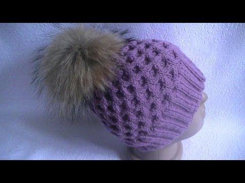 Download video: Вязание шапки узором соты.Knitting hats pattern cell ...