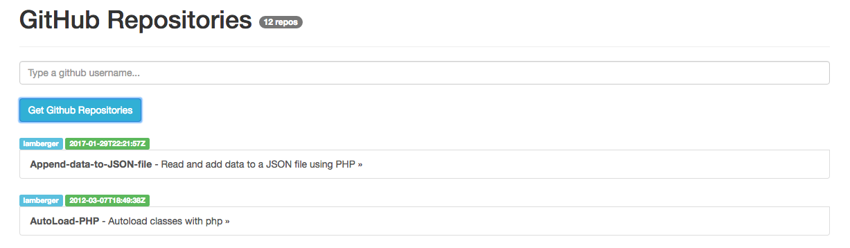 Quick example  How to request data from Github API using ReactJS and