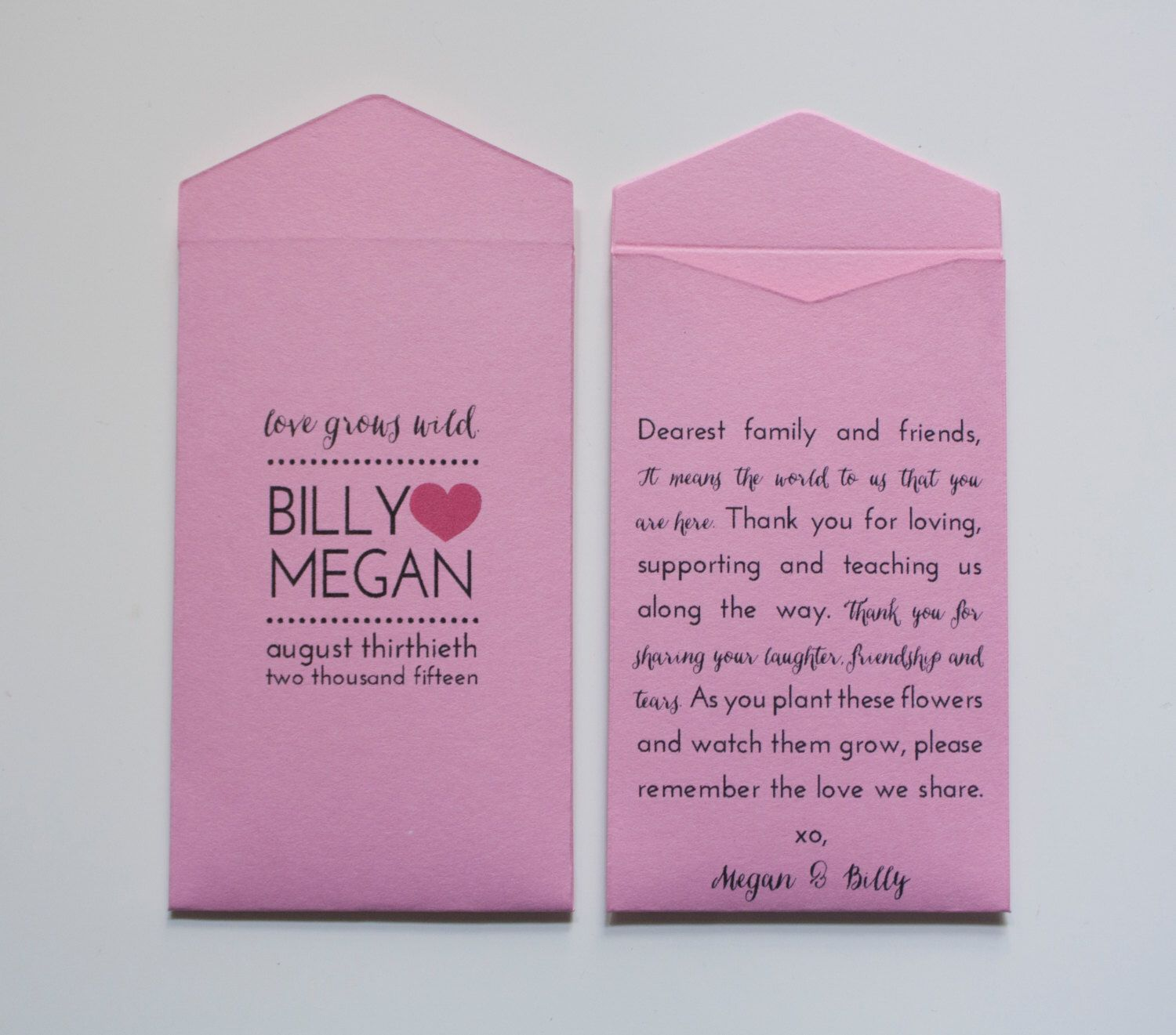Light Pink Custom Seed Packet Wedding Favors - Many Colors Available ...