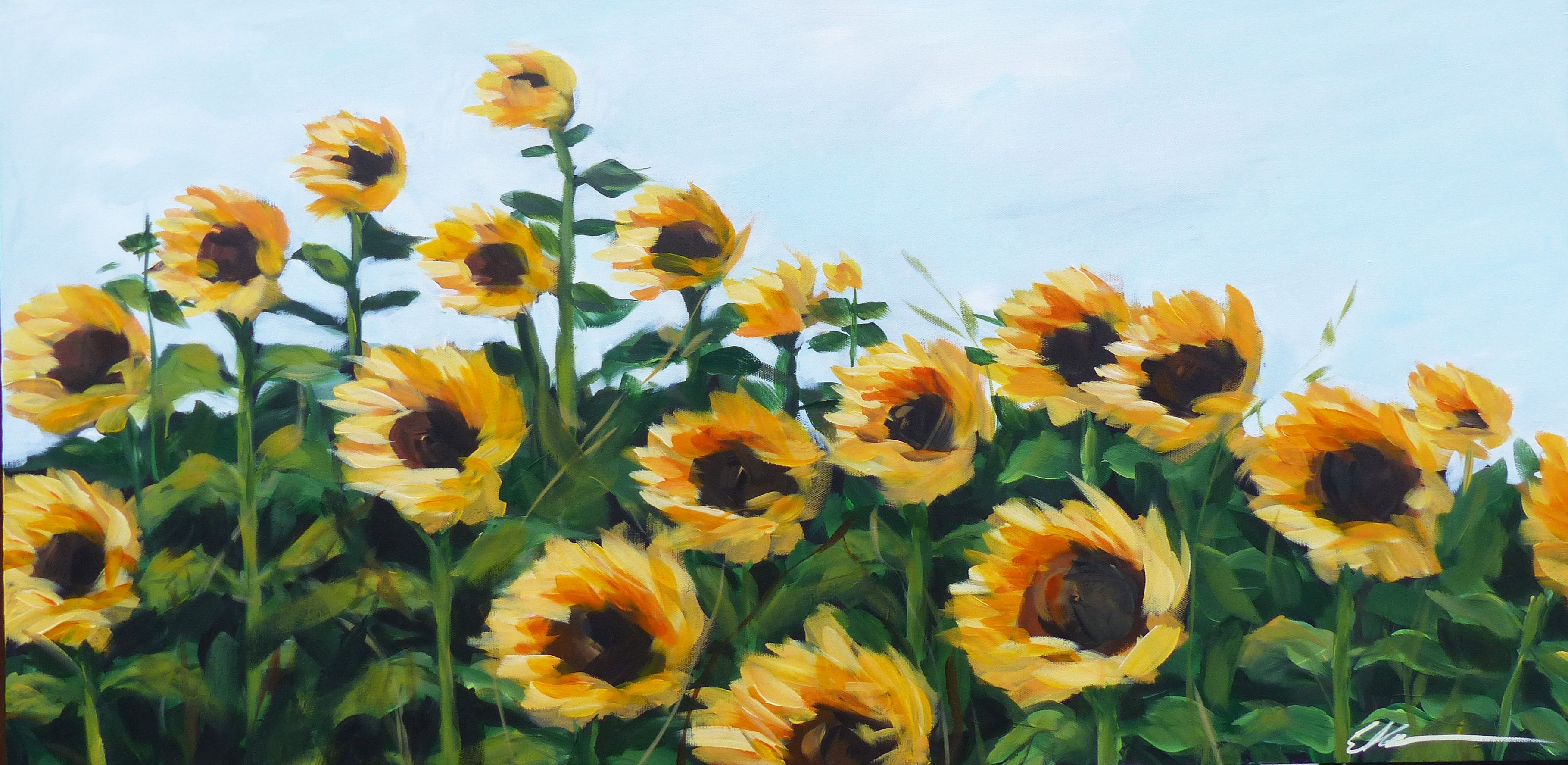 Sunflower Field Sunflower Wall Art Sunflower Painting