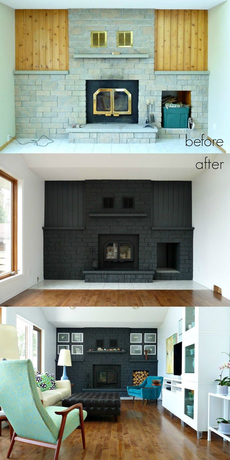 Dans le Lakehouse Fireplace Before + After Fireplace
