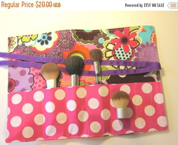 RESERVED ON SALE Makeup Organizer Brush Roll Holder by ClemmieVs