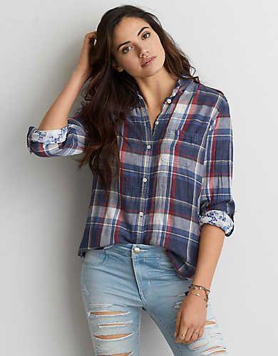 13d22484 AEO Plaid Boyfriend Shirt , White | American Eagle Outfitters