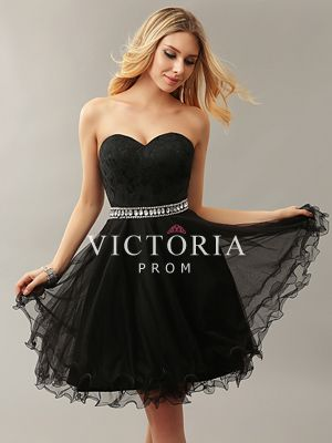 cute black lace tulle aline short sweetheart promdress